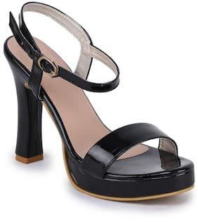 Funku Fashion Women Black Heeled Sandals