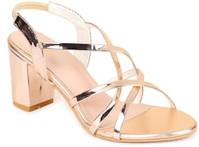 Funku Fashion Women Peach Heeled Sandals