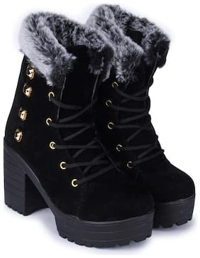 Funku Fashion Women Black Calf length Boots