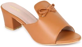 Funku Fashion Women Tan Heeled Sandals