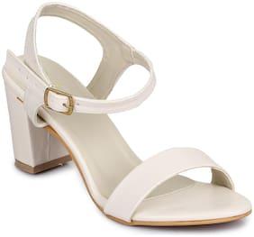 Funku Fashion Women White Heeled Sandals