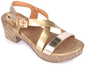 Funku Fashion Gold Block Heels