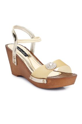 Funku Fashion Golden Wedges heels