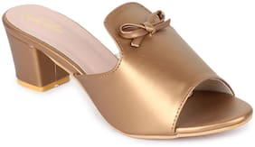 Funku Fashion Women Copper Heeled Sandals