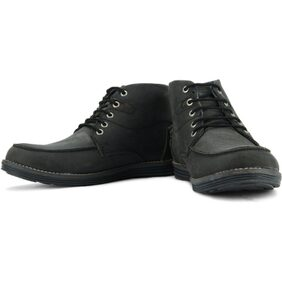 GAS Black Leather Casual Shoes
