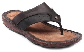 Gas Glint-001 Brown Leather Sandals & Floaters For Men's