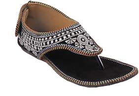 Gerief Black Embroidery Velvet Ethnic Shoes for Women