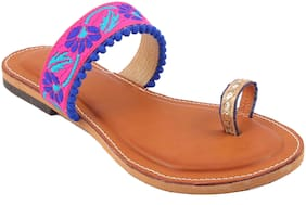 Gerief Blue Color Napa Leather Stylish Flat For Women