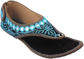 Gerief Blue Embroidery Velvet Sheesha Work Ethnic Shoes for Women