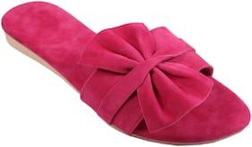 Gerief Butterfly Design Pink Flat & Sandals For Women