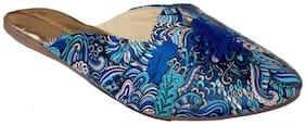Gerief Jaipuri Rajasthani Printed Dark Blue Women's Slipper