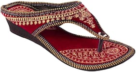 Gerief Maroon Embroidery Velvet Flat for women