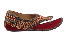 Gerief Maroon Embroidery Velvet Ethnic Shoes for Women