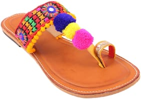 Gerief Multicolor PomPom Work Nappa Leather Flat for women