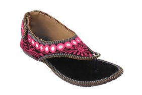 Gerief Pink Embroidery Velvet Sheesha Work Ethnic Shoes for Women