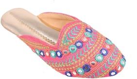Gerief Pink Ethnic Flat Sandal For Women