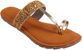 GERIEF Women Gold Open Toe Flats