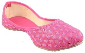 Gerief Women's Pink Ethnic Juti Mojari for Women and Girls