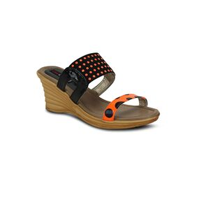 Get Glamr Black & Orange Wedges