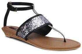 Get Glamr Black & Silver Flats