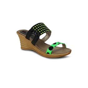 Get Glamr Black & Green Wedges