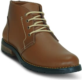 Get Glamr Men Tan Ankle Boots