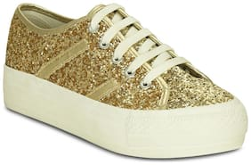 Get Glamr Women Gold Sneakers