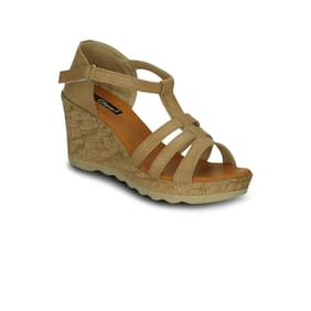 Get Glamr Women's Beige Sandals (GET(GET-6427)-3 UK