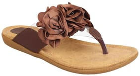 Glitzy Galz Women Brown Flat Sandal