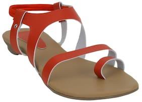 Glitzy Galz Red Women Flat sandals