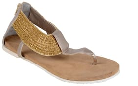 GOLDEN BEADED FLAT SANDALS BY BERRY PURPLE