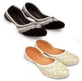 Great Art Women Fashionabal Party Wear Rajasthani Ballerinas Mojari Combo