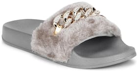 Truffle Collection Grey Fabric and Chain detailed Slip-on Flats