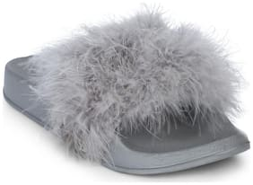 Truffle Collection Grey Feather Slip-on Flats