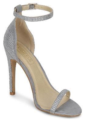 Truffle Collection Grey Mircrofibre Diamante Ankle Strap Stiletto Heels