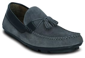 Grey-suede Leather-loafers