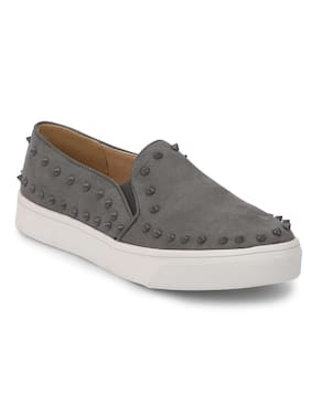 Truffle Collection Grey Suede Studded Slip-On Sneakers