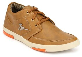 Groofer Men's Tan Synthetic Lace up Sneakers