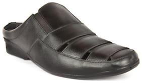 Groofer Men's Genuine Leather Black Sandals