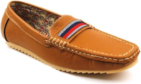 Groofer Tan Loafer Shoes For Men Daily Wear, Casual Wear