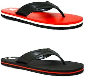 HighWalker Men Black & Red Flip-Flops & Outdoor Slippers - 2 Pair