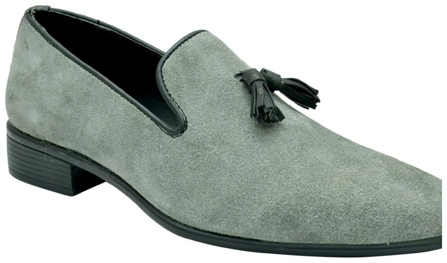 Grey Suede Leather Tassel Loafers