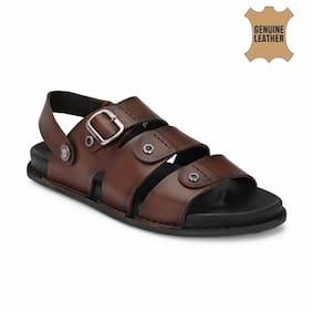 Hitz Brown Leather Slandals for Men