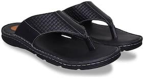 ID Men Black Slippers & Flip-Flops