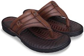 ID Men Tan Slippers & Flip-Flops