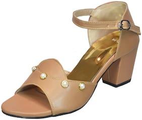 IndiForce Women Beige Heeled Sandals