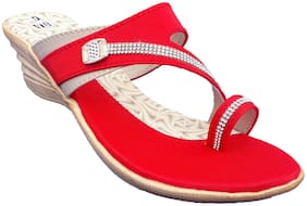 IndiForce Women Red Heeled Sandals