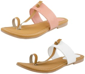 IndiStar Womens Faux Leather Sandal Pack of 2