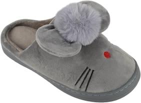 IRSOE Women's Comfort Foam Slippers Wool Slip-On House Suede Fur Lined;Indoor & Outdoor - Grey