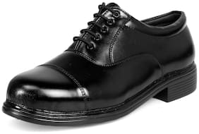 K KING Men Black Faux Leather Oxford Shoes